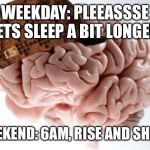 Scumbag Brain Meme | WEEKDAY: PLEEASSSE LETS SLEEP A BIT LONGER! WEEKEND: 6AM, RISE AND SHINE! | image tagged in memes,scumbag brain,AdviceAnimals | made w/ Imgflip meme maker