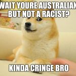 Doge 2 Meme | WAIT YOURE AUSTRALIAN BUT NOT A RACIST? KINDA CRINGE BRO | image tagged in memes,doge 2 | made w/ Imgflip meme maker