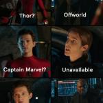 Thor off-world captain marvel unavailable meme