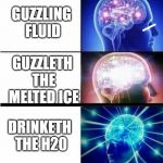 Expanding Brain Meme | DRINKING WATER GUZZLETH THE 2 HYDROGEN PARTICLES AND 1 OXYGEN PARTICLE GUZZLING FLUID GUZZLETH THE MELTED ICE DRINKETH THE H20 | image tagged in expanding brain meme | made w/ Imgflip meme maker