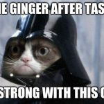 Grumpy Cat Star Wars Meme | THE GINGER AFTER TASTE IS STRONG WITH THIS ONE | image tagged in memes,grumpy cat star wars,grumpy cat | made w/ Imgflip meme maker