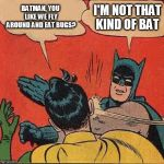 Batman Slapping Robin Meme | BATMAN, YOU LIKE WE FLY AROUND AND EAT BUGS? I'M NOT THAT KIND OF BAT | image tagged in memes,batman slapping robin | made w/ Imgflip meme maker