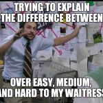 Trying to explain | TRYING TO EXPLAIN THE DIFFERENCE BETWEEN OVER EASY, MEDIUM,  AND HARD TO MY WAITRESS | image tagged in trying to explain | made w/ Imgflip meme maker