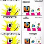 Who are we | WHO ARE WE? BROWSERS! BROWSERS! WHAT DO WE WANT? FAST INTERNET SPEEDS! FAST INTERNET SPEEDS! WHEN DO WE WANT IT? BROWSERS! | image tagged in who are we | made w/ Imgflip meme maker