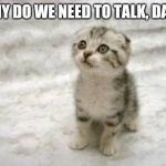 Sad Cat Meme | WHY DO WE NEED TO TALK, DAD? | image tagged in memes,sad cat | made w/ Imgflip meme maker