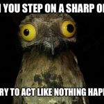 Weird Stuff I Do Potoo Meme | WHEN YOU STEP ON A SHARP OBJECT AND TRY TO ACT LIKE NOTHING HAPPENED | image tagged in memes,weird stuff i do potoo | made w/ Imgflip meme maker