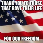 American flag | THANK YOU TO THOSE THAT GAVE THEIR LIFE FOR OUR FREEDOM | image tagged in american flag | made w/ Imgflip meme maker