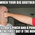 Face punch | WHEN YOUR BIG BROTHER STILL DOES PINCH AND A PUNCH FOR THE FIRST DAY IF THE MONTH | image tagged in face punch | made w/ Imgflip meme maker
