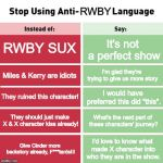 Stop Using Anti-Animal Language | RWBY RWBY SUX It's not a perfect show Miles & Kerry are idiots I'm glad they're trying to give us more story They ruined this character! I w | image tagged in stop using anti-animal language | made w/ Imgflip meme maker