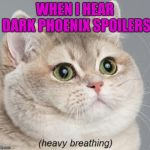 Heavy Breathing Cat Meme | WHEN I HEAR DARK PHOENIX SPOILERS | image tagged in memes,heavy breathing cat | made w/ Imgflip meme maker