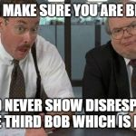 The Bobs Meme | US BOBS MAKE SURE YOU ARE BEHAVING, AND NEVER SHOW DISRESPECT FOR THE THIRD BOB WHICH IS BOB JIM. | image tagged in memes,the bobs | made w/ Imgflip meme maker