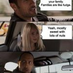 Sweet Sorrow | You should love your family. Families are like fudge. Yeah, mostly sweet with lots of nuts | image tagged in memes,the rock driving,family life | made w/ Imgflip meme maker