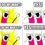 What Do We Want Meme | WHAT DO WE WANT? YES! WHEN DO WE WANT IT? YES!!!!!!!!!!!!!!! | image tagged in memes,what do we want | made w/ Imgflip meme maker