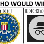 Who Would Win? Meme | THE FBI INCOGNITO MODE | image tagged in memes,who would win,fbi | made w/ Imgflip meme maker