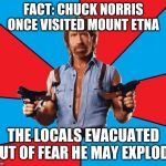 Chuck Norris With Guns Meme | FACT: CHUCK NORRIS ONCE VISITED MOUNT ETNA THE LOCALS EVACUATED OUT OF FEAR HE MAY EXPLODE | image tagged in memes,chuck norris with guns,chuck norris | made w/ Imgflip meme maker
