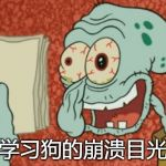 Exhausted Squidward | 学习狗的崩溃目光 | image tagged in exhausted squidward | made w/ Imgflip meme maker