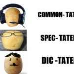 Know your Tator Tots | COMMON- TATER SPEC- TATER DIC -TATER | image tagged in blank white template,potatoes,mr potato head | made w/ Imgflip meme maker