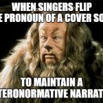 Cowards | WHEN SINGERS FLIP THE PRONOUN OF A COVER SONG TO MAINTAIN A HETERONORMATIVE NARRATIVE | image tagged in cowardly lion | made w/ Imgflip meme maker