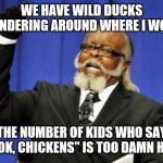 "Too Damn High Meme | WE HAVE WILD DUCKS WANDERING AROUND WHERE I WORK THE NUMBER OF KIDS WHO SAY ""LOOK, CHICKENS"" IS TOO DAMN HIGH 