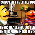 Bert And Ernie Radio | BERT IS SHOCKED THE LITTLE FOOL DID IT ERNIE ACTUALLY TOOK ELMO'S BET AND IS NOW HIGH ON XYZAL | image tagged in bert and ernie radio | made w/ Imgflip meme maker