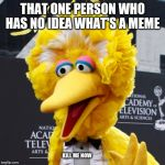 Big Bird Meme | THAT ONE PERSON WHO HAS NO IDEA WHAT'S A MEME KILL ME NOW | image tagged in memes,big bird | made w/ Imgflip meme maker