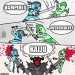 Sword fight | VAMPIRES KAIJU WEREWOLVES | image tagged in sword fight,vampires,werewolves,kaiju,vampire,werewolf | made w/ Imgflip meme maker