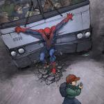 SPIDERMAN holding train