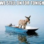 DONKEY ON A BOAT | R WE STILL ON FOR TONIGHT! | image tagged in donkey on a boat | made w/ Imgflip meme maker