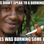 Jamaican | MOSES DIDN'T SPEAK TO A BURNING BUSH MOSES WAS BURNING SOME BUSH | image tagged in jamaican | made w/ Imgflip meme maker