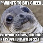 Awkward Seal | TRUMP WANTS TO BUY GREENLAND... BUT EVERYONE KNOWS OUR CHECKING ACCOUNT IS OVERDRAWN BY 22 TRILLION... | image tagged in awkward seal,AdviceAnimals | made w/ Imgflip meme maker