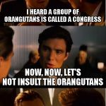 Orangutans are much smarter than Congress! | I HEARD A GROUP OF ORANGUTANS IS CALLED A CONGRESS NOW, NOW, LET'S NOT INSULT THE ORANGUTANS | image tagged in memes,inception | made w/ Imgflip meme maker