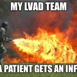 flamethrower | MY LVAD TEAM WHEN A PATIENT GETS AN INFECTION | image tagged in flamethrower,kill it with fire,vad,hospital,infection | made w/ Imgflip meme maker