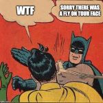 Batman Slapping Robin Meme | WTF SORRY THERE WAS A FLY ON TOUR FACE | image tagged in memes,batman slapping robin | made w/ Imgflip meme maker