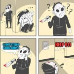 jason | ( FOOT STEEPS GOING AWAY ) HELP 911 | image tagged in jason | made w/ Imgflip meme maker