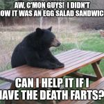 The Death Farts | AW, C'MON GUYS!  I DIDN'T KNOW IT WAS AN EGG SALAD SANDWICH... CAN I HELP IT IF I HAVE THE DEATH FARTS? | image tagged in memes,bad luck bear,egg salad,farts,death farts,killer flatulence | made w/ Imgflip meme maker