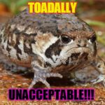 Grumpy Toad Meme | TOADALLY UNACCEPTABLE!!! | image tagged in memes,grumpy toad | made w/ Imgflip meme maker