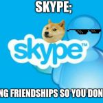 Skype Meme | SKYPE; DESTROYING FRIENDSHIPS SO YOU DON'T HAVE TO | image tagged in memes,skype | made w/ Imgflip meme maker