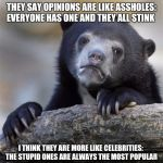But that's just my opinion. | THEY SAY OPINIONS ARE LIKE ASSHOLES: EVERYONE HAS ONE AND THEY ALL STINK I THINK THEY ARE MORE LIKE CELEBRITIES:  THE STUPID ONES ARE ALWAYS | image tagged in sad bear,boycott hollywood,stupid people,opinions | made w/ Imgflip meme maker