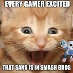 Excited Cat Meme | EVERY GAMER EXCITED THAT SANS IS IN SMASH BROS | image tagged in memes,excited cat | made w/ Imgflip meme maker