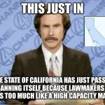 Ron Burgundy Meme | THIS JUST IN THE STATE OF CALIFORNIA HAS JUST PASSED A LAW BANNING ITSELF BECAUSE LAWMAKERS BELIEVE IT LOOKS TOO MUCH LIKE A HIGH CAPACITY M | image tagged in memes,ron burgundy | made w/ Imgflip meme maker