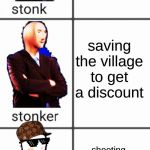 Stonk by level | trading the villager his own carrots for saddle saving the village to get a discount shooting up the village and threatening its life unless | image tagged in stonk by level | made w/ Imgflip meme maker