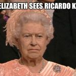 Ricardo, the Queen sends her regards!! Cheers!! | QUEEN ELIZABETH SEES RICARDO KLEMENT | image tagged in queen elizabeth flipping the bird,roast ricardo week,funny memes | made w/ Imgflip meme maker