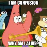 No Patrick Meme | I AM CONFUSION WHY AM I ALIVE? | image tagged in memes,no patrick | made w/ Imgflip meme maker