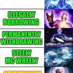 Expanding Brain 5 Panel | STEALING ILLEGALLY BORROWING PERMANENTLY WITHDRAWING STEELY MC WHEELY COMMUNISM | image tagged in expanding brain 5 panel | made w/ Imgflip meme maker