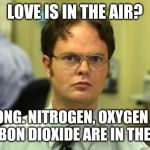 . | LOVE IS IN THE AIR? WRONG. NITROGEN, OXYGEN AND CARBON DIOXIDE ARE IN THE AIR. | image tagged in memes,dwight schrute,love,air,wrong,funny | made w/ Imgflip meme maker