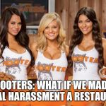Hooters Girls | HOOTERS: WHAT IF WE MADE SEXUAL HARASSMENT A RESTAURANT | image tagged in hooters girls | made w/ Imgflip meme maker