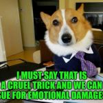 When you fake throwing the ball | I MUST SAY THAT IS A CRUEL TRICK AND WE CAN SUE FOR EMOTIONAL DAMAGES | image tagged in lawyer corgi dog | made w/ Imgflip meme maker