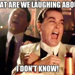 Good Fellas Hilarious Meme | WHAT ARE WE LAUGHING ABOUT? I DON'T KNOW! | image tagged in memes,good fellas hilarious | made w/ Imgflip meme maker