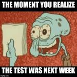 Stressed out Squidward | THE MOMENT YOU REALIZE THE TEST WAS NEXT WEEK | image tagged in stressed out squidward | made w/ Imgflip meme maker