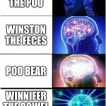 Expanding Brain Meme | WINNY THE POO WINSTON THE FECES POO BEAR WINNIFER THE BOWEL MOVEMENT | image tagged in memes,expanding brain | made w/ Imgflip meme maker